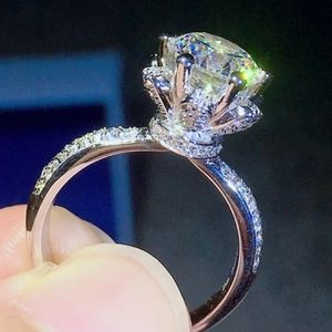 18K WHITE GOLD 3 CARAT CZ FLORAL ENGAGEMENT RING